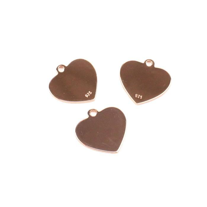 Rose Gold Plated 925 Sterling Silver Small Blank Heart Charms Approx 12mm 3pk