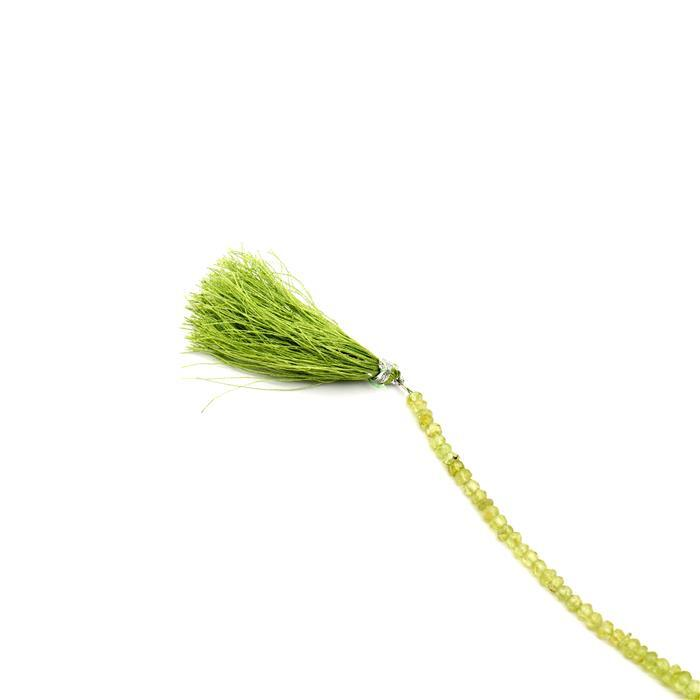 30cts Peridot Graduated Faceted Rondelles Approx 2x1 to 5x3mm, 18cm Strand.