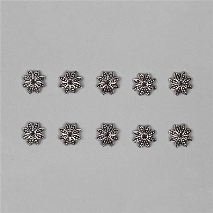 Silver Plated Alloy Flower Bead Caps - 13mm (10pcs/pk)