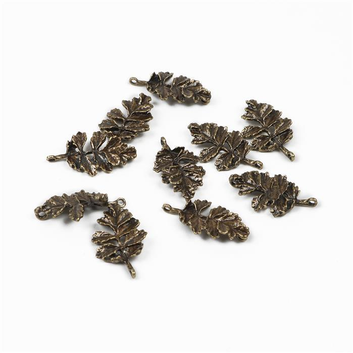 Oxidised Antique Bronze Plated Leaf Charms - 28x17mm (10pcs/pk)