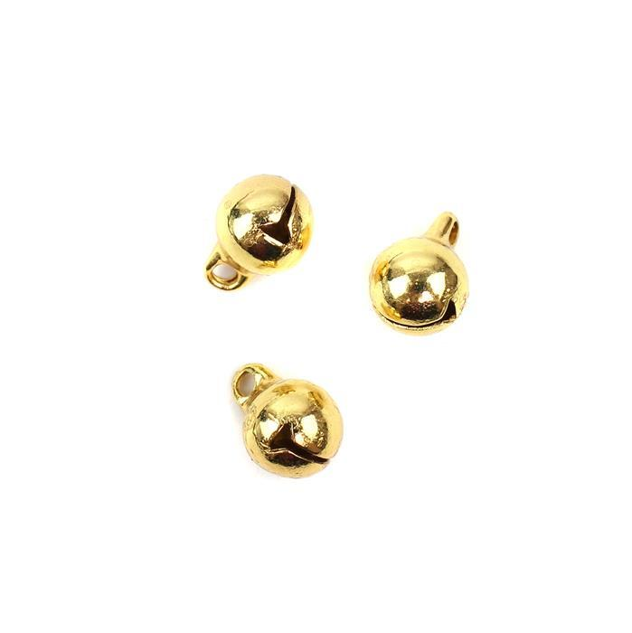 Gold  Coloured Brass Bell Charms Approx 8mm 3pk