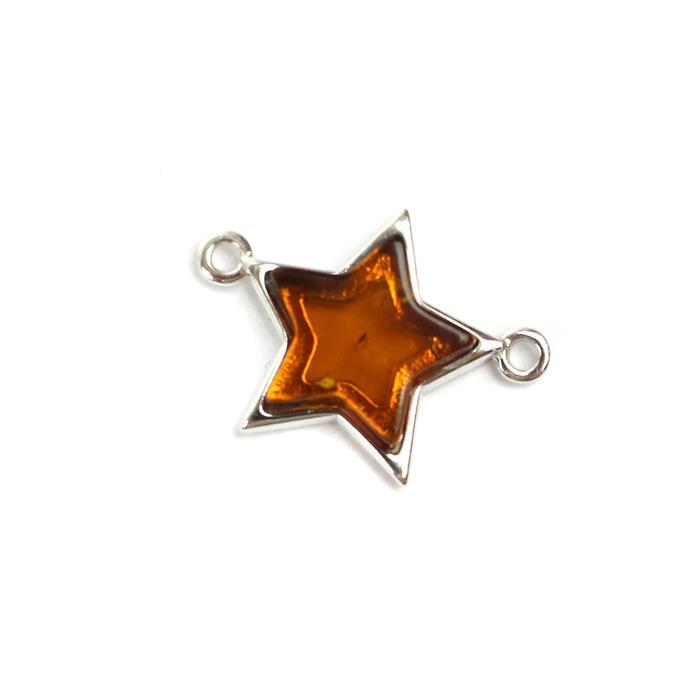 Baltic Cognac Amber Sterling Silver Star Connector 16x20mm