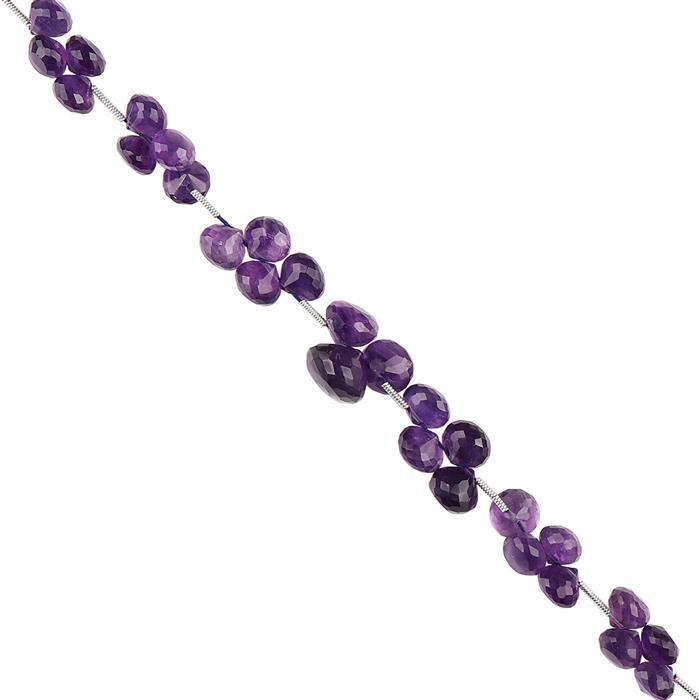 92cts Amethyst Graduated Faceted Flat Drops Approx 4 to 7mm, 18cm Strand.