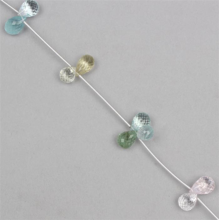 35cts Multi-Colour Beryl Graduated Faceted Drops Approx From 10x6 to 11x6mm, 12cm Strand.