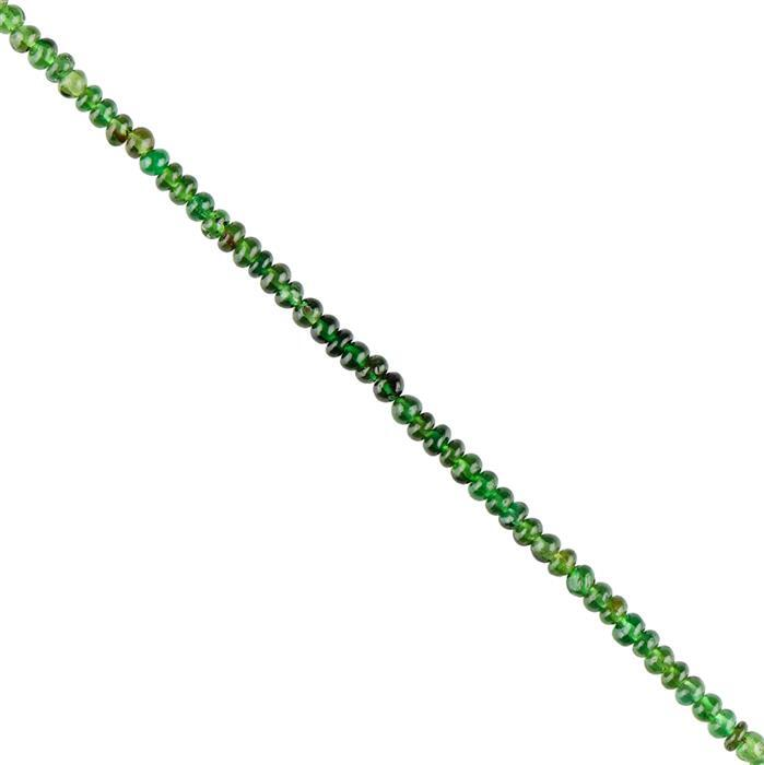 10cts Chrome Tourmaline Graduated Plain Rondelles Approx 2x1 to 3x2mm, 16cm Strand.
