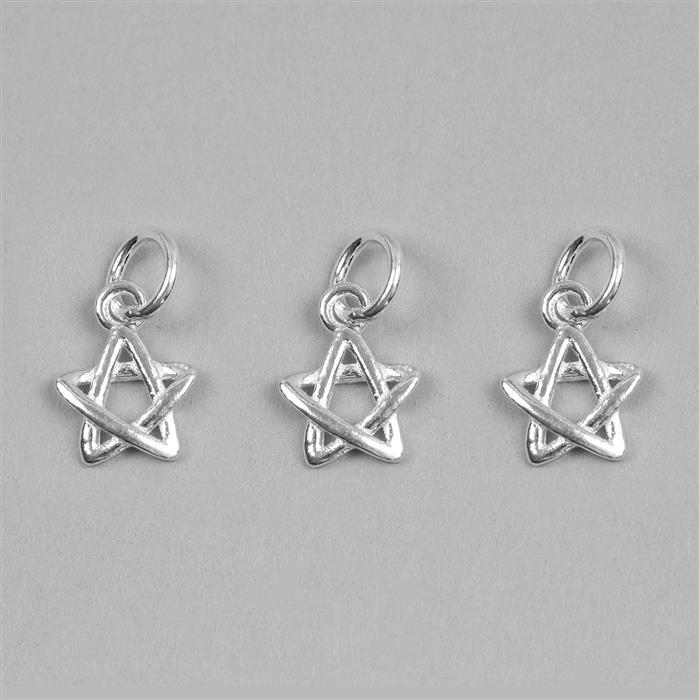 925 Sterling Silver Star Charms Approx 9x7mm 3pcs