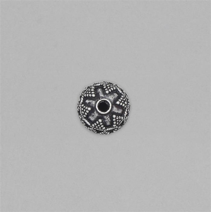 925 Sterling Silver Oxidised Vintage Bali Bead Approx 14x13mm