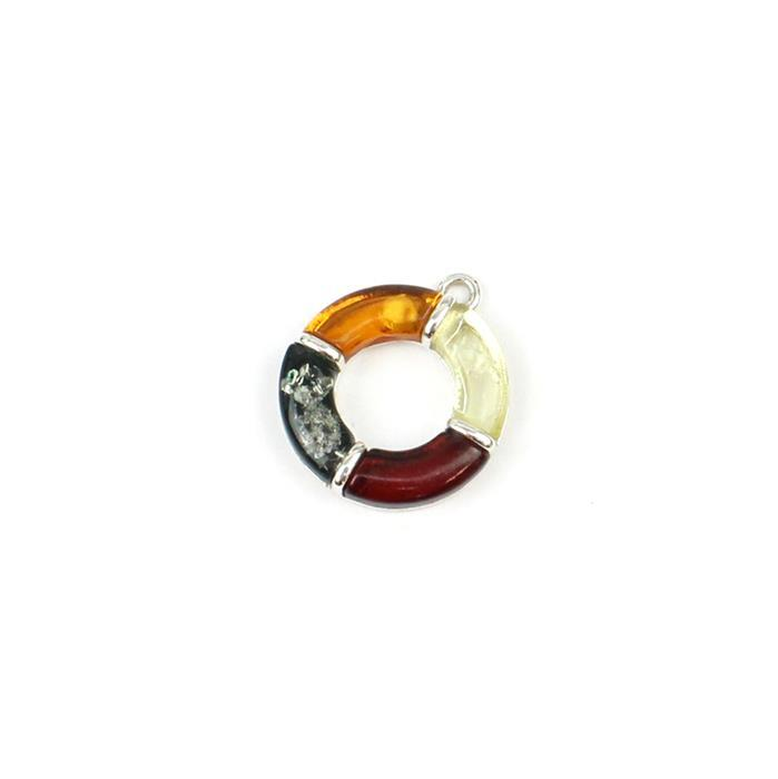 Baltic Multi-Colour Amber Circle Four Quarters Pendant Approx 16x19mm Sterling Silver