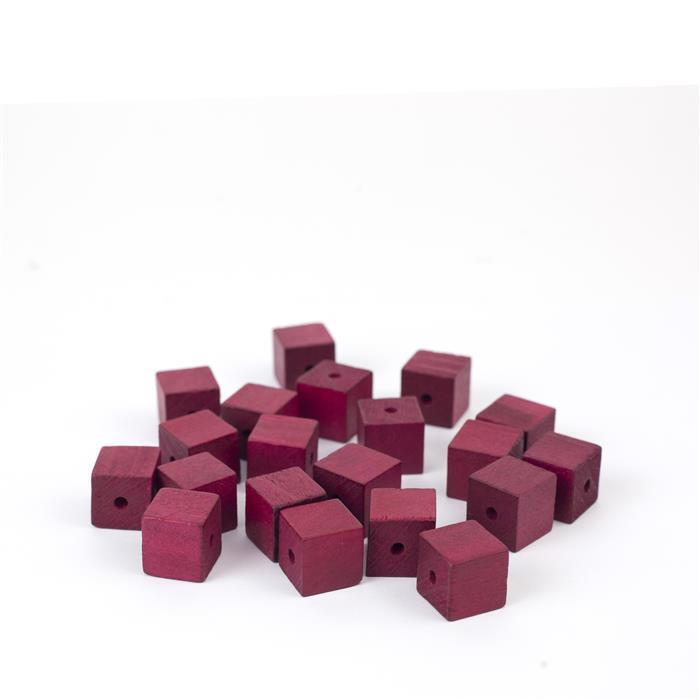 Red Wooden Cube Beads Approx 15mm (20pk)