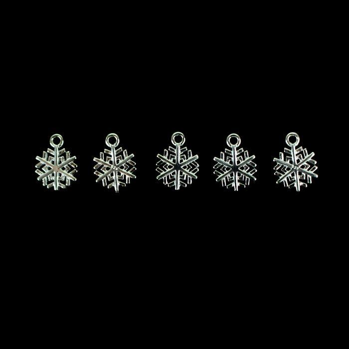 925 Sterling Silver Snowflake Charms Approx 11mm, 5pcs