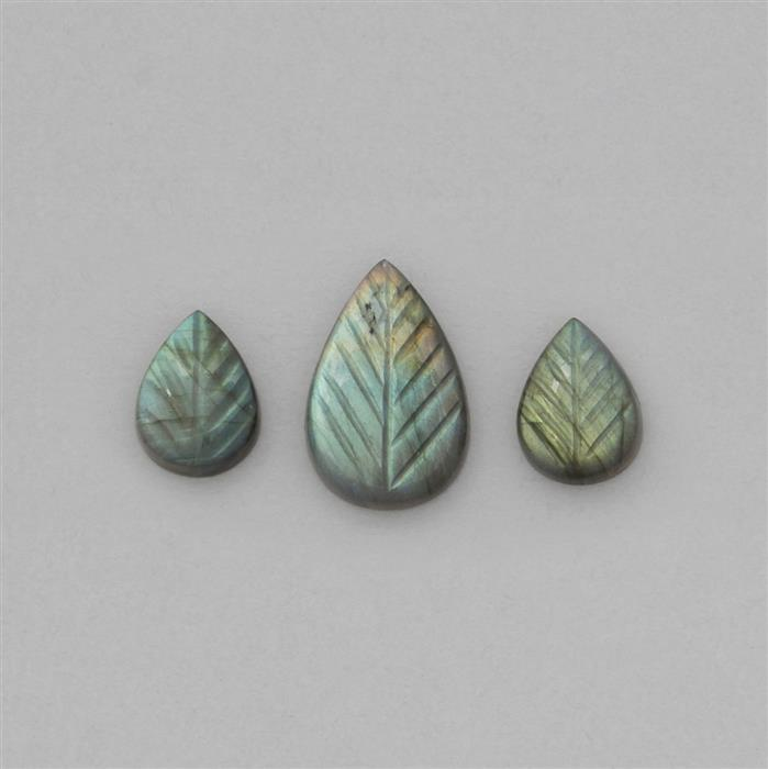 35cts Labradorite Leaf Shaped Cabochons Approx 18x13 to 29x18mm (3 Pieces).