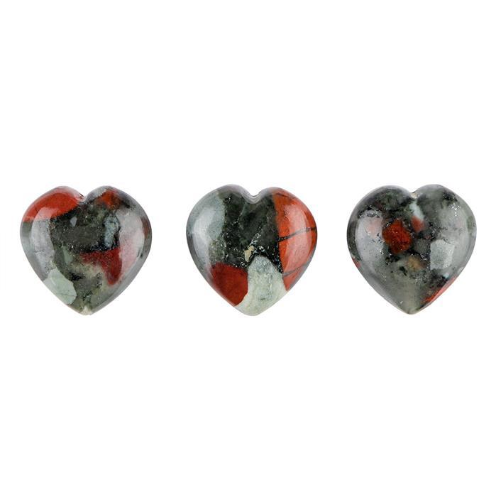 40cts Bloodstone Plain Drilled Heart Approx 15mm. (Pack of 3)