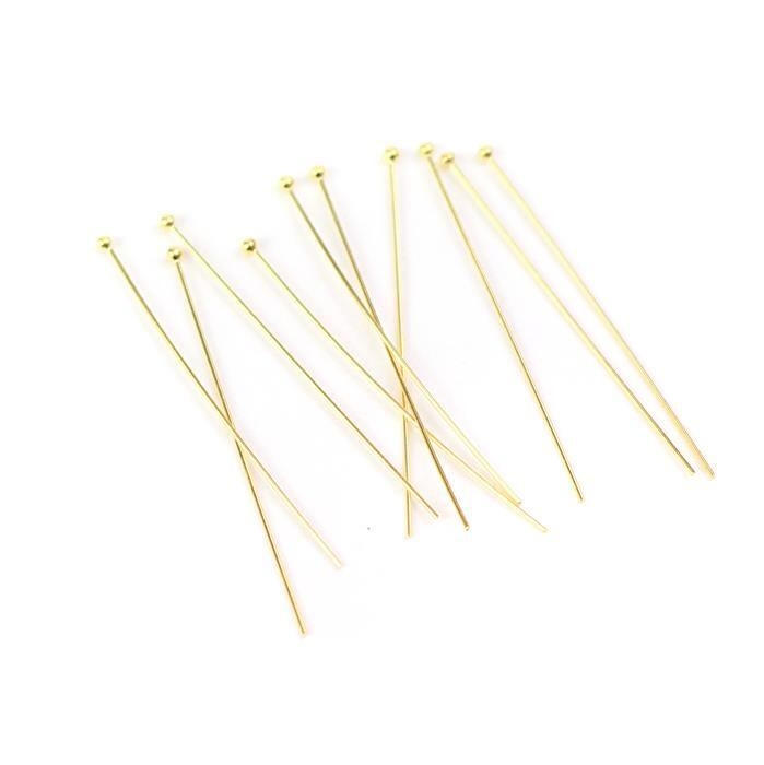 Gold Plated 925 Sterling Silver Ball Headpins - 38mm (0.5mm) - (10pcs/pk)
