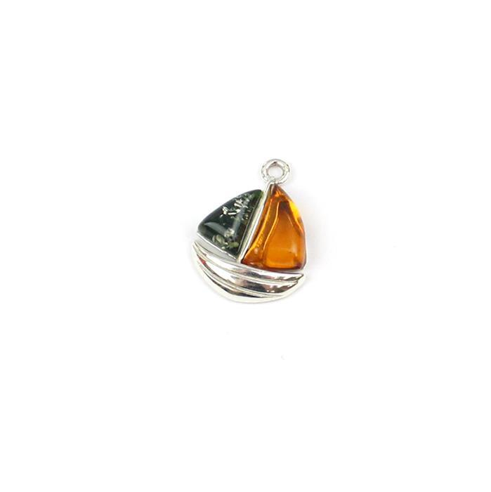 Baltic Multi-Colour Amber Sailboat Charm Approx 13x15mm Sterling Silver
