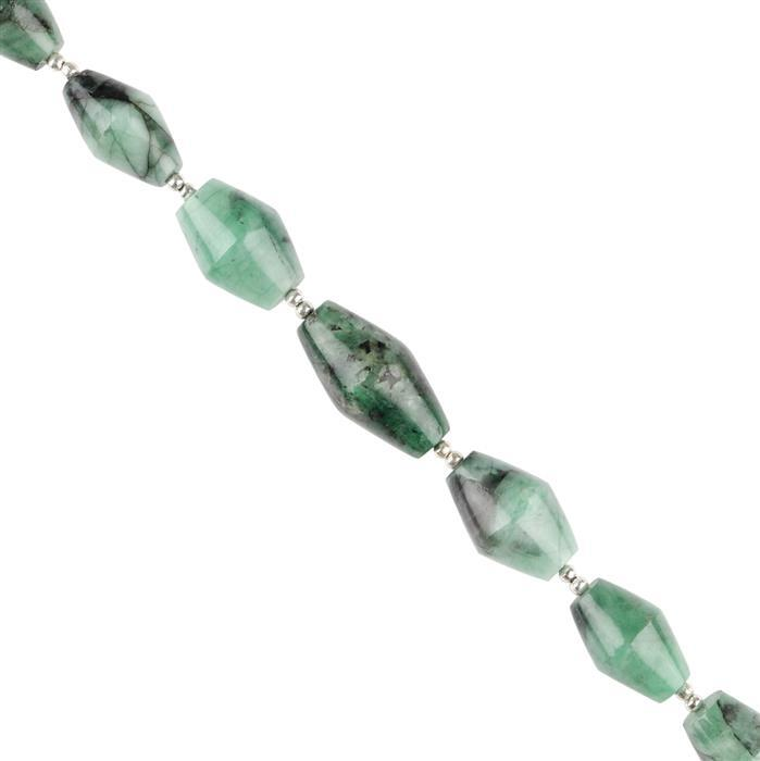 110cts Emerald Graduated Plain Barrels Approx 13x8 to 20x11mm, 18cm Strand.