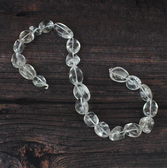 400cts Clear Quartz Plain Tumbles Approx 12x15 to 15x21mm, 38cm strand