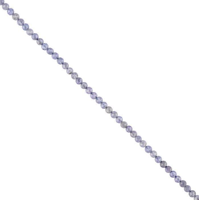 10cts Tanzanite Micro Faceted Rounds Approx 2mm, 38cm Strand.