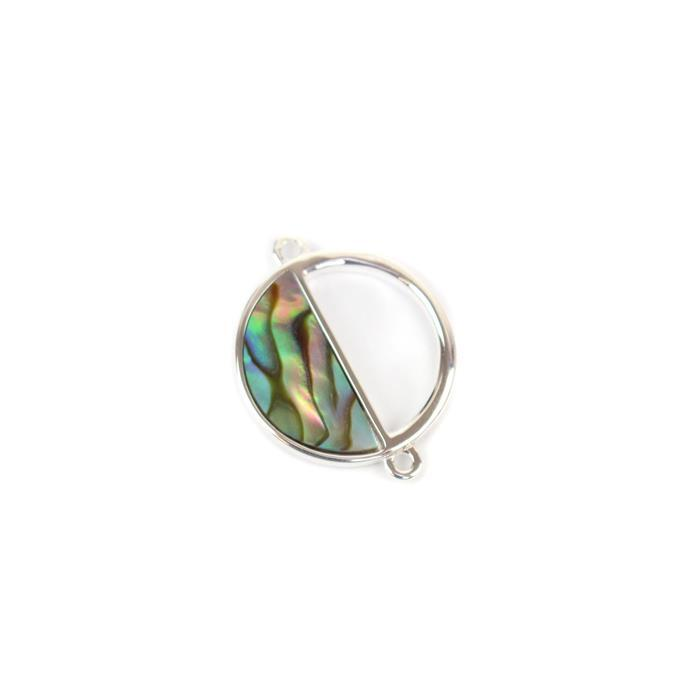 925 Sterling Silver Abalone Semi-Circle Connectors Approx 15x19mm 1pc