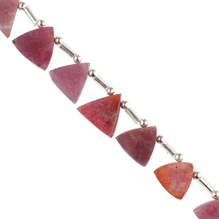 30cts Ruby Graduated Plain Trilliants Approx 7 to 10mm, 8cm Strand.