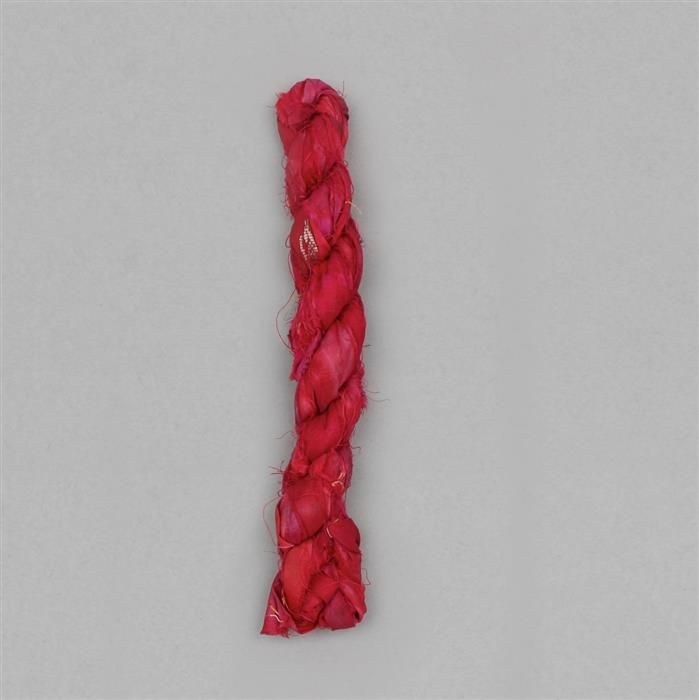 10m Recycled Red Colour Sari Silk Ribbon Approx 23gm