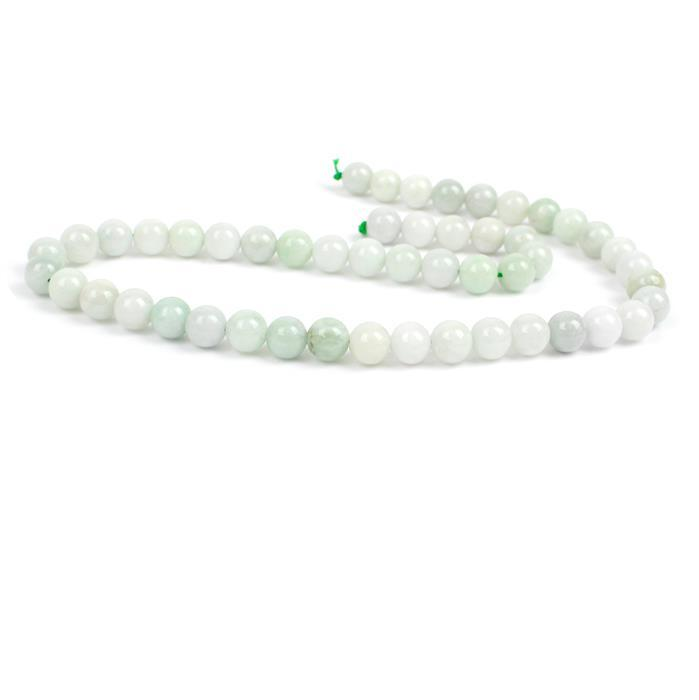 220cts Jadeite Plain Rounds, Approx 8mm, 38cm strand