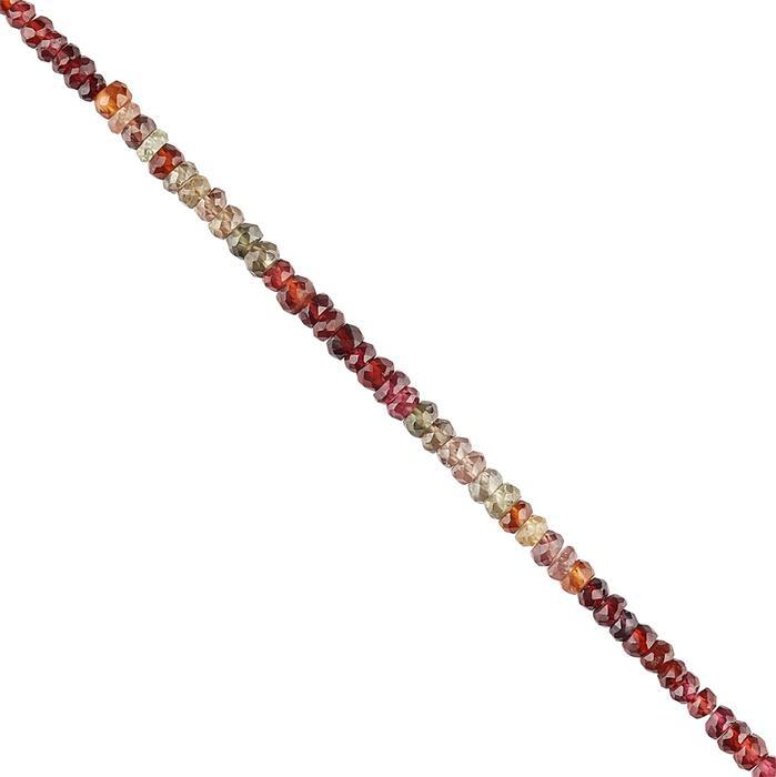 30cts  Tunduru Garnet Graduated Faceted Rondelles Approx 2x1 to 4x2mm, 22cm Strand.