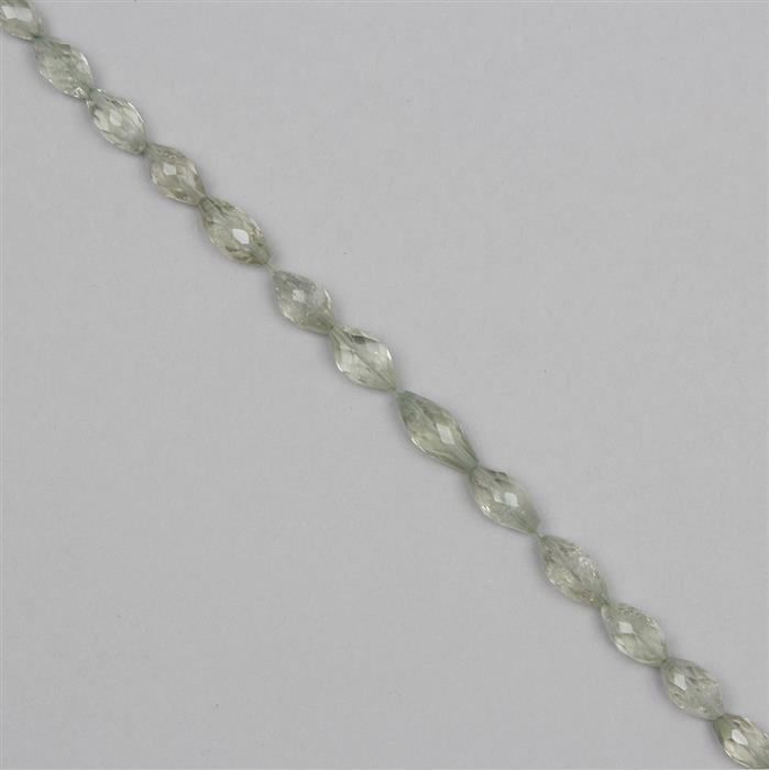 65cts Green Amethyst Graduated Faceted Rice Beads Approx 8x4 to 17x6mm, 27cm Strand.