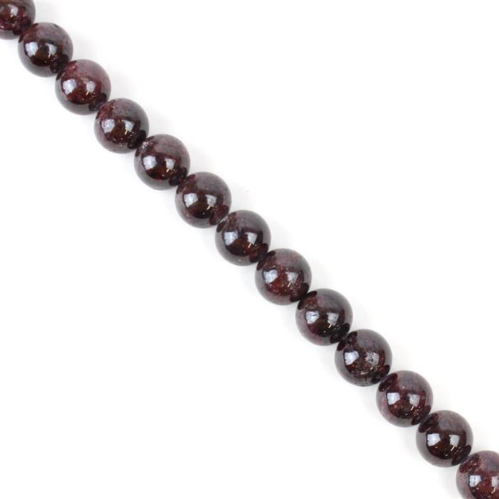 300cts Red Garnet Plain Rounds Approx 9mm, 38cm strand
