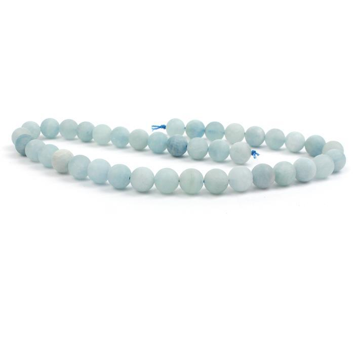 290cts Aquamarine Frosted Rounds Approx 10mm, 38cm strand