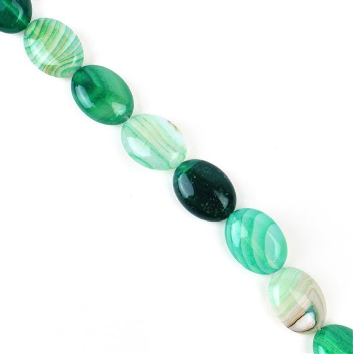 260cts Green Stripe Agate Puffy Ovals Approx 13x18 mm, 38cm/strand