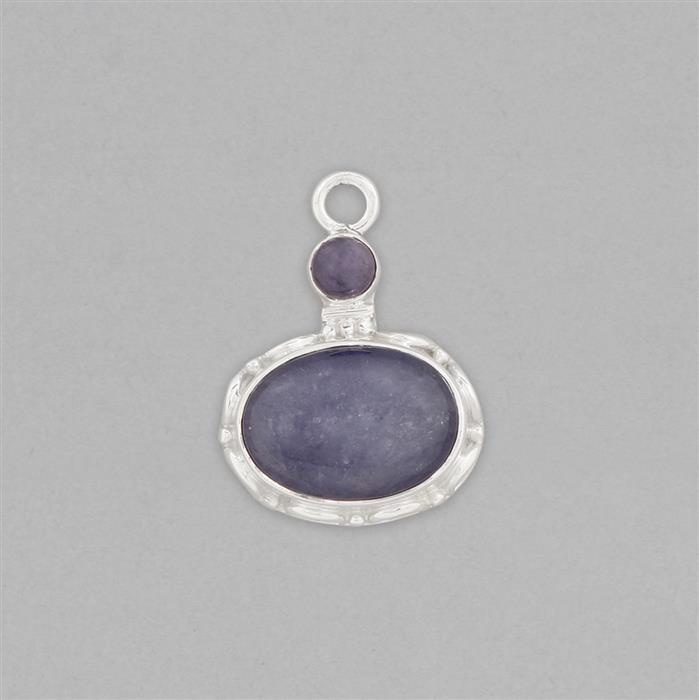 925 Sterling Silver Gemset Pendant Approx 30x22mm Inc. 10cts Tanzanite Cabochons
