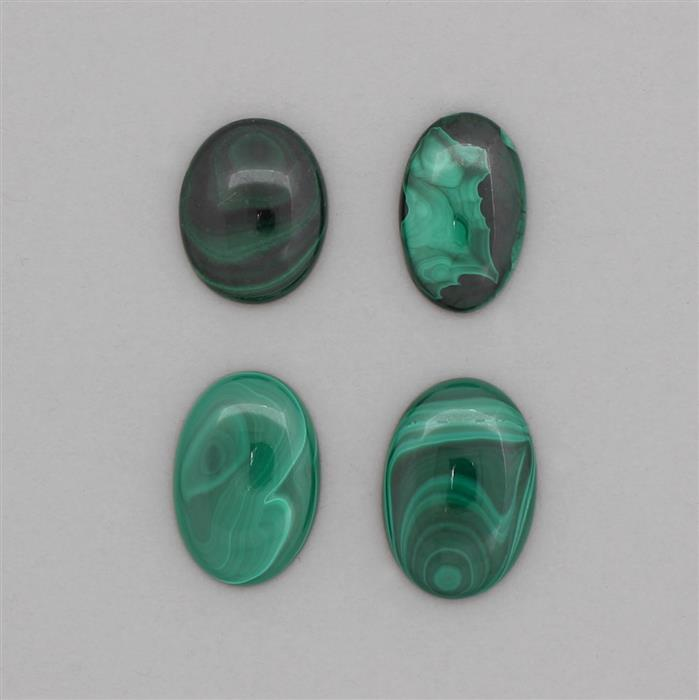 250cts Malachite Multi Shapes Cabochons Assortment.