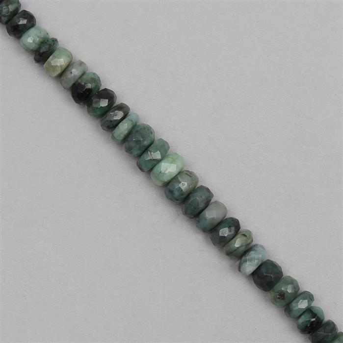95cts Emerald Graduated Faceted Rondelles Approx From 5x3 to 8x4mm, 19cm Strand.