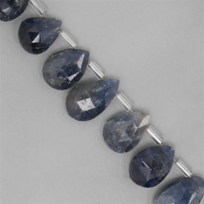 135cts Blue Sapphire Graduated Faceted Pears Approx 7x3 to 16x11mm, 24cm Strand.
