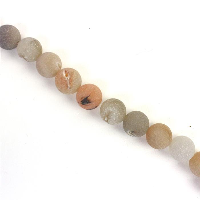520cts Natural Colour Agate Frosted Rounds with Druzy Hole Approx 14mm, Approx 38cm/strand
