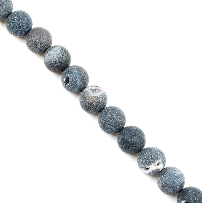 530cts Black Frosted with Druzy hole Agate Plain Rounds Approx 14mm, 38cm Strand