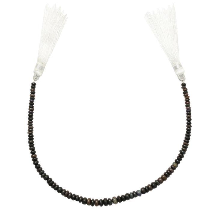 12cts Black Ethiopian Opal Graduated Plain Rondelles Approx 2x1 to 5x2mm, 18 Strand.