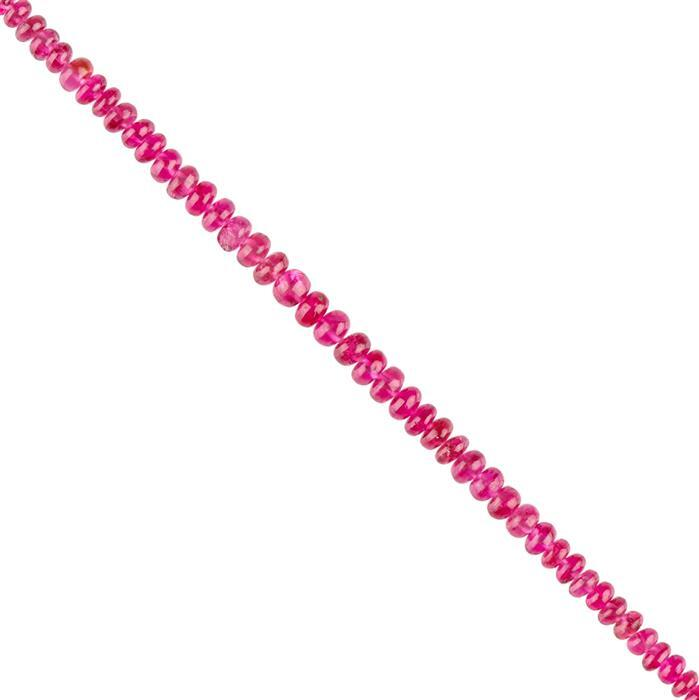 5cts Red Spinel Graduated Plain Rondelles Approx 2x1 to 3x2mm, 8cm Strand.