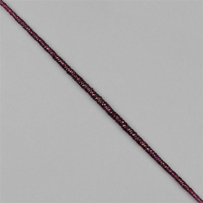 44cts Natural Purple Garnet Graduated Faceted Wheels Approx 2x1 to 5x2mm, 18cm Strand.