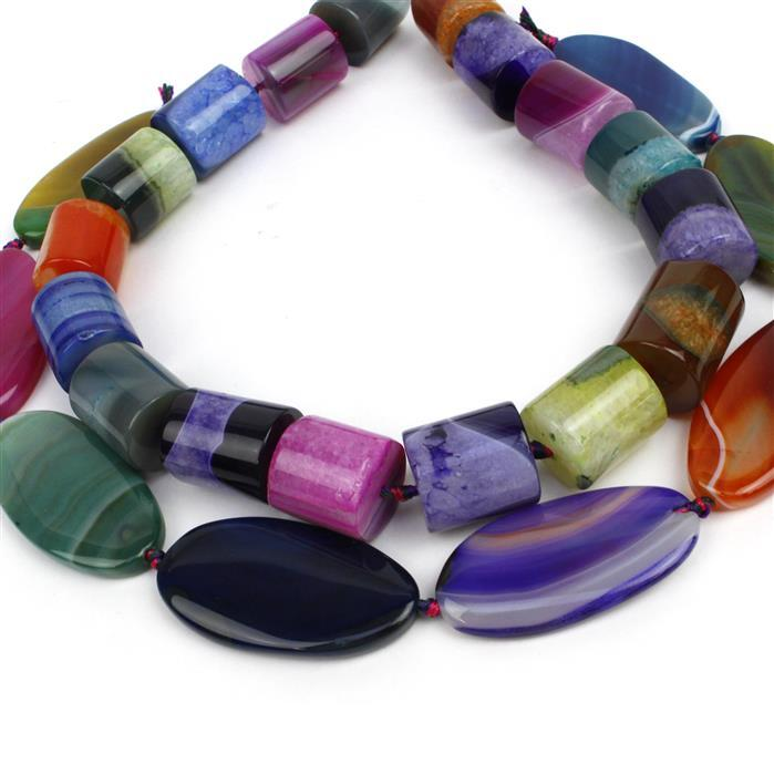 Double Trouble Multi-colour Stripe Agate Ovals & Cylinders