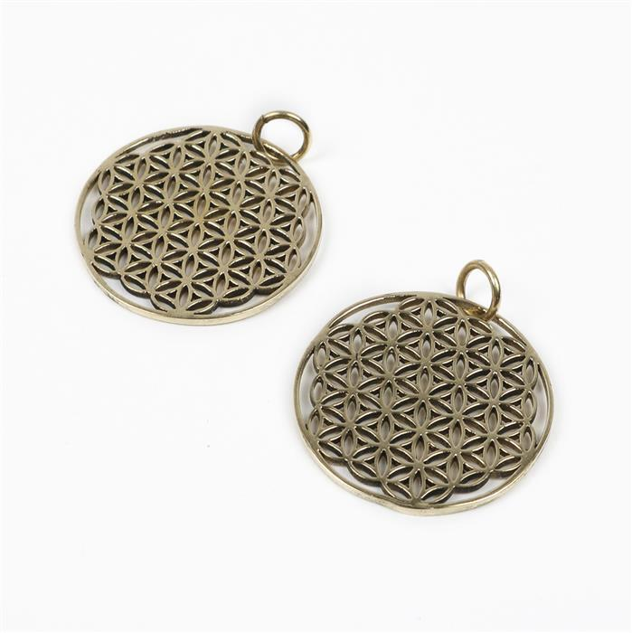 Polished Brass Round Filigree Charm - 30x30mm with 7mm Jump Ring (2pcs)