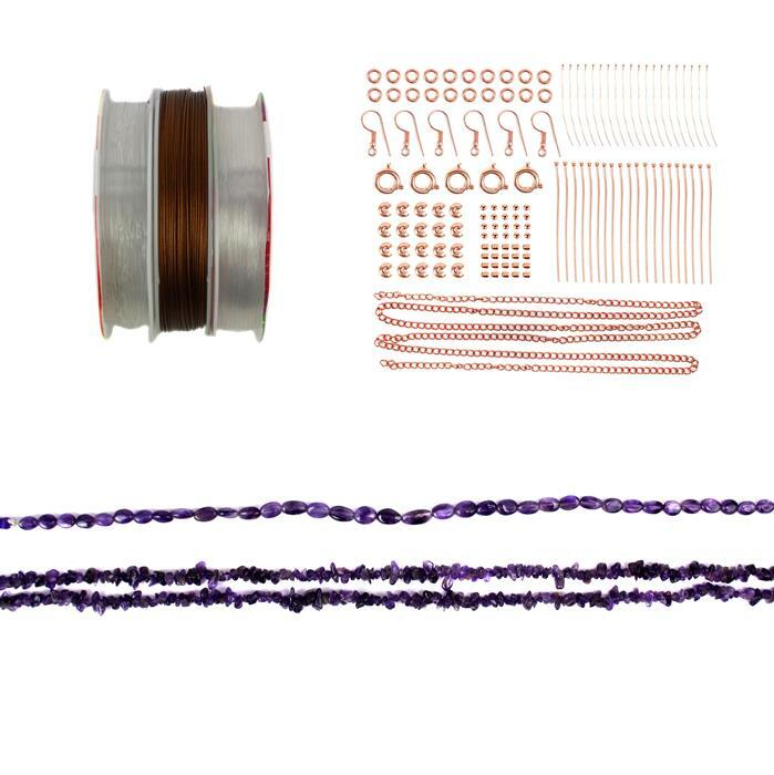 Ultraviolet; 285cts Amethyst, Rose Gold Plated Findings & Threading Pack