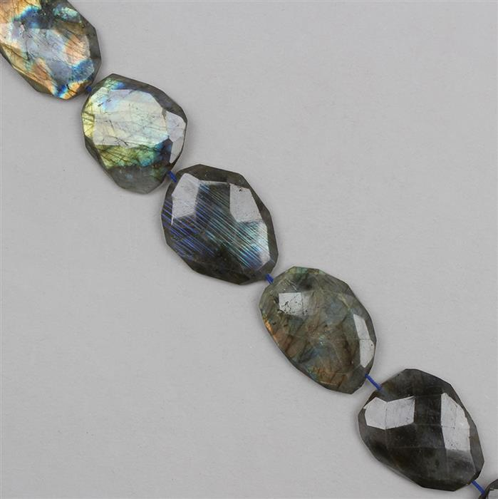 320cts Labradorite Graduated Faceted Large Nuggets Approx 18x14 to 29x20mm, 24cm Strand.