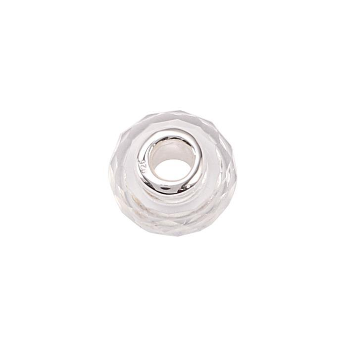 2.50cts Clear Quartz Faceted Charm with Sterling Silver Eyelet Approx 10x4mm and Drill Size 3mm.