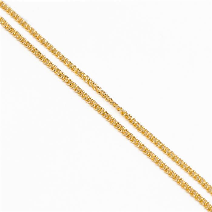 1m Gold Plated Brass Curb Chain 1x1.6mm