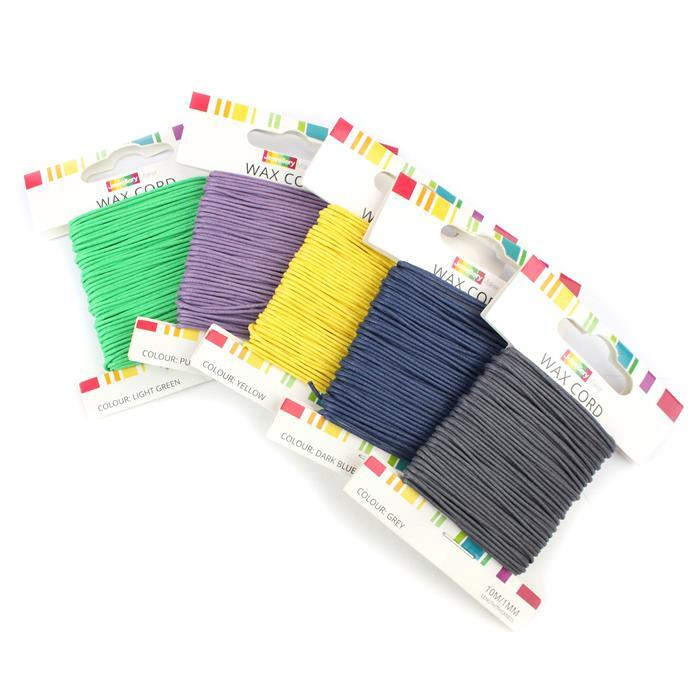 Wax Lyrical! Inc; 50m Purple, Light Green, Grey, Dark Blue & Yellow Wax Cord 1mm