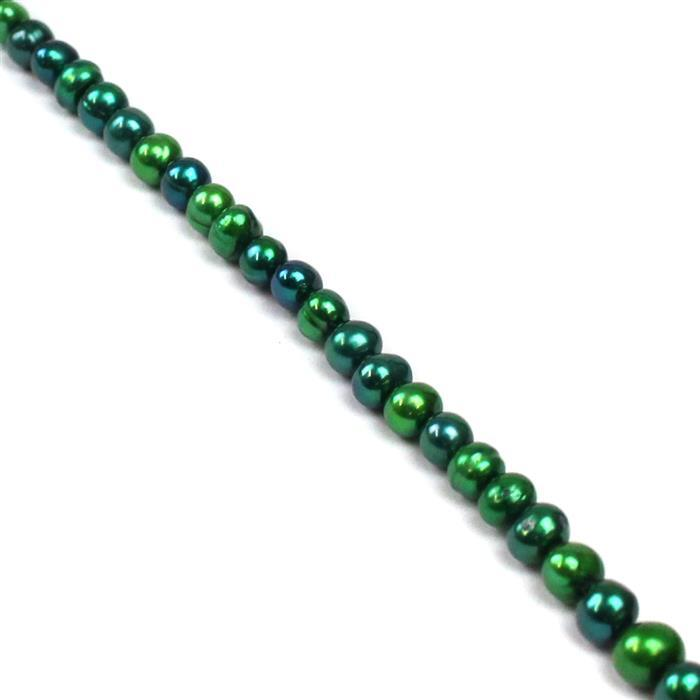 Dyed Green Freshwater Cultured Potato Pearls Approx 4x5mm, 38cm Strand