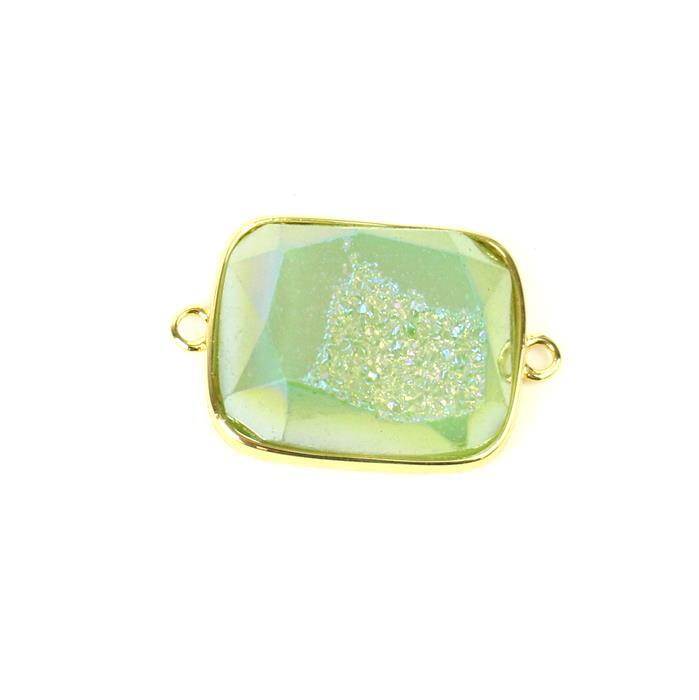 20cts Light Green Agate Druzy Rectangle Connector Approx 17x26mm, 1pk