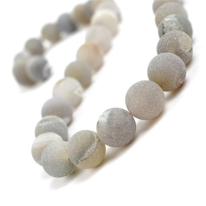 270cts Gray Frosted with Druzy hole Agate Plain Rounds Approx 10mm, 38cm Strand