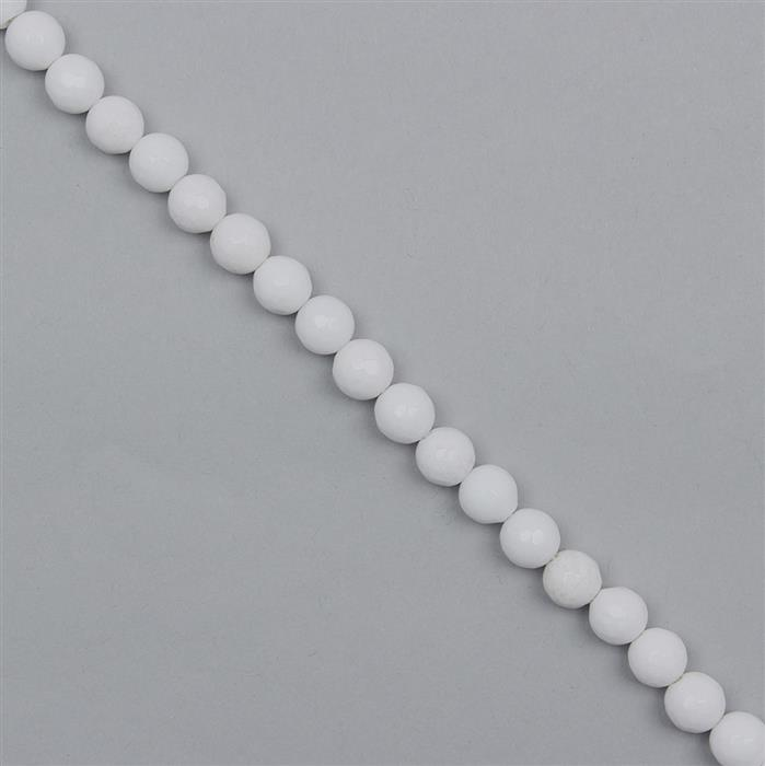 160cts White Colour Dyed Quartz Faceted Rounds Approx 7mm, 36cm Strand.